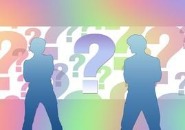 Question marks and people clipart