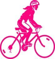 Colorful cycling girl clipart