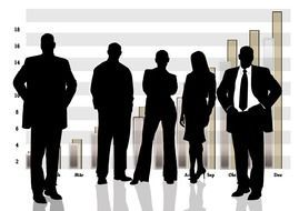 black silhouettes of business people on the background of charts