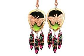 butterflies on colorful earrings