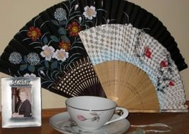 Victorian antique Cup saucer and fan