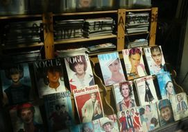 magazines on store shelves in Paris