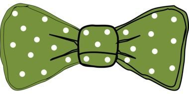 graphic image of a green bow with white polka dots