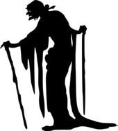old ugly witch with two sticks, black silhouette