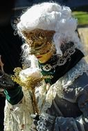 Woman dressed up in carnival costume in Venice