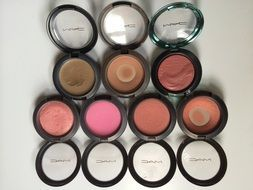 pink, red and brown blushers, makeup