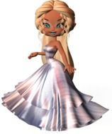 Cartoon woman dressed up in ball gown