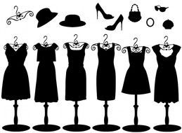dresses, hats, shoes and accessories drawing