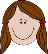 graphic image of a funny girl with brown hair