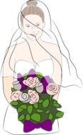 graphic image of the bride with a bright bouquet