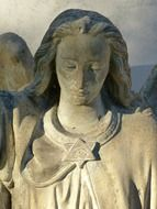 female face of religious sculpture