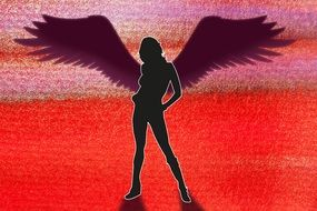 silhouette of an erotic woman with wings