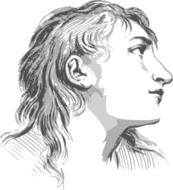 Drawing of woman's sad face in profile