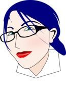 woman face blue hair drawing