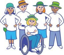 drawn group of people and a girl in a wheelchair