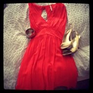 red dress and fashion shoes