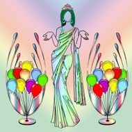 painted elegant woman and multicolored balloons