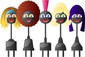 cartoon african girls with electric plugs