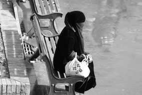 black and white photo of muslim woman