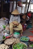 local woman sells vegetables in vietnam market