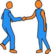 Picture of handshaking humans