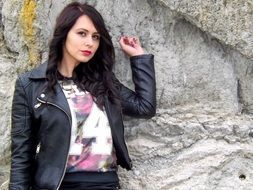 girl fashion black leather jacket