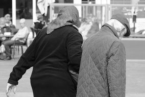 black and white photo of two pensioners