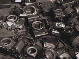 A lot of used cameras
