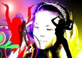 image of a girl in headphones against the background of dancing people