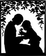 silhouette of mother and daughter in the garden
