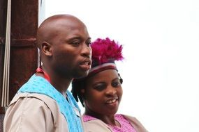 young couple in african traditional costumes