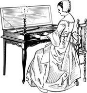 image of a medieval woman playing the piano
