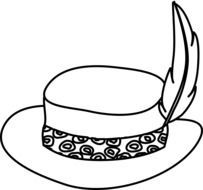 Black and white drawing of the hat with the feather