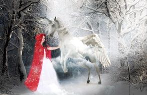 mystical image of the red cap and unicorn