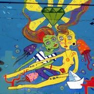 man and woman in love underwater, colorful graffiti