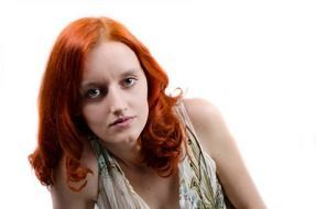 red hair model on a white background