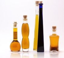 cosmetics oil in glass bottles
