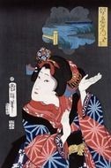 japanese maiden young woman drawing