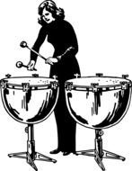 woman on drums as a graphic image