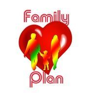 Symbol of heart and family plan