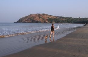 girl and little dog walking on the beach