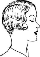 drawn profile of a woman with a short haircut