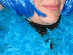 blue haired woman in feather boa, detail