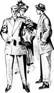 men old suits drawing
