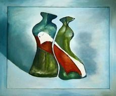 two vases fit together,as man and woman, painting