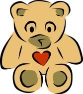 Clipart,picture of cute teddybear with red heart on it