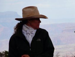 horsewoman in a cowboy hat