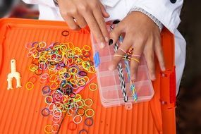 multi-colored rubber rings for weaving