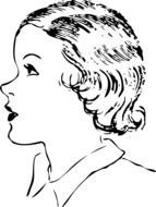 woman side profile drawing