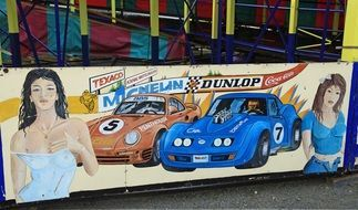poster with girls and race cars